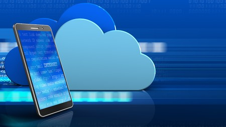 3d illustration of clouds over digital background with mobile phone Stock Photo