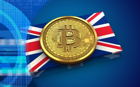 3d illustration of bitcoin over blue background with UK flag