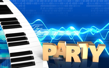 3d illustration of piano keyboard over cyber background with party sign Stock Photo