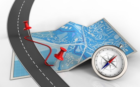 3d illustration of city map with pins and route and compass Stock Photo
