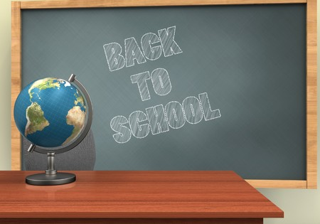3d illustration of chalkboard with back to school text and