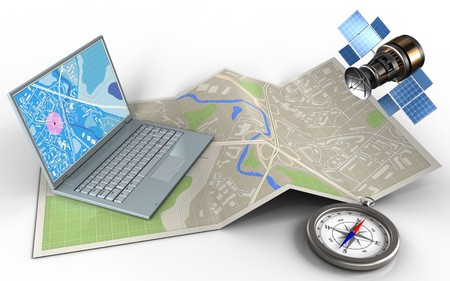 3d illustration of map paper with computer and gps satellite