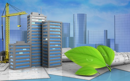 3d illustration of city buildings with crane over skyscrappers background