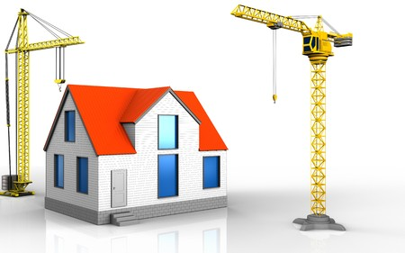 3d illustration of generic house with crane over white background Stock Photo