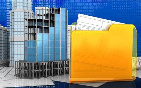 refelction: 3d illustration of modern building frame with urban scene over digital background