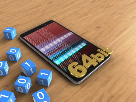 powerfull: 3d illustration of mobile phone over wooden background with binary cubes and 64 bit sign