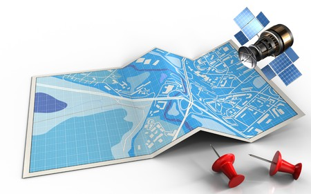 map pin: 3d illustration of city map with red pins and gps satellite Stock Photo