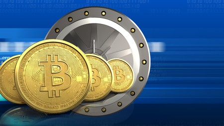 3d illustration of valut door over digital background with bitcoins row Stock Photo
