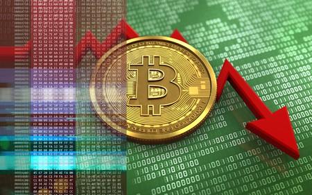 실패 다이어그램과 녹색 이진 배경 위에 bitcoin의 3d 일러스트
