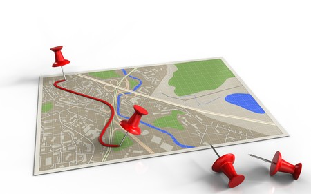 map pin: 3d illustration of map with pins and route and Stock Photo