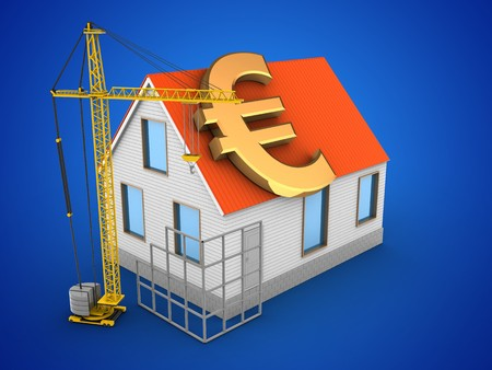 3d illustration of house red roof over blue background with euro sign and construction site