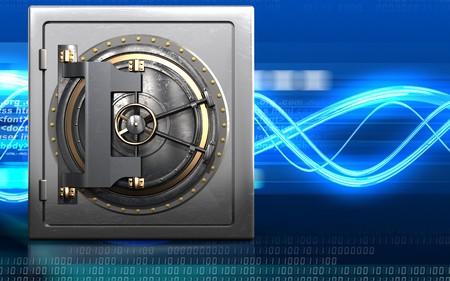 3d illustration of metal safe with vault door over digital waves background