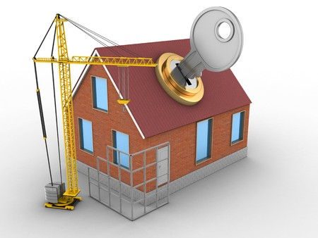 3d illustration of bricks house over white background with key and construction site