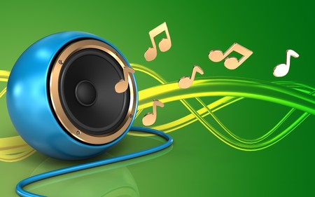 3d illustration of blue sound speaker over green background with notes Stock Photo