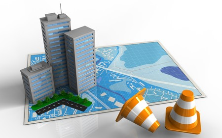 3d illustration of blue map with city buildings and