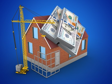 3d illustration of bricks house over blue background with money and construction site