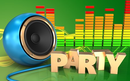 3d illustration of blue sound speaker over green background with party sign
