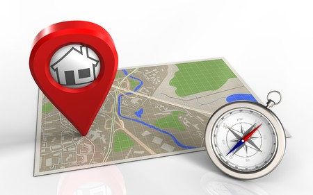 map pin: 3d illustration of map with home pin and Stock Photo