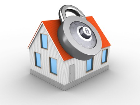 3d illustration of house red roof over white background with code lock