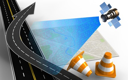 3d illustration of bright map with road arrow and repair cones Stock Photo