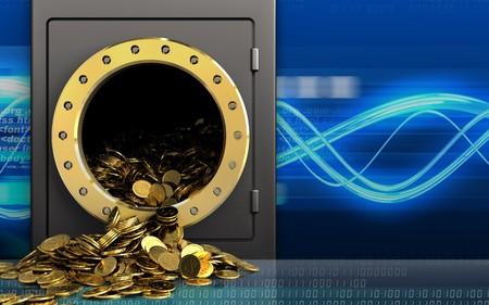 3d illustration of metal safe with golden coins over digital waves background Stock Photo