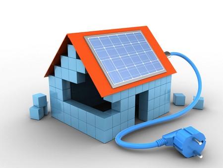 3d illustratie van blokhuis over witte achtergrond met zonnemacht Stockfoto
