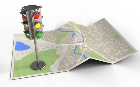 3d illustratie van kaartdocument met verkeerslicht en