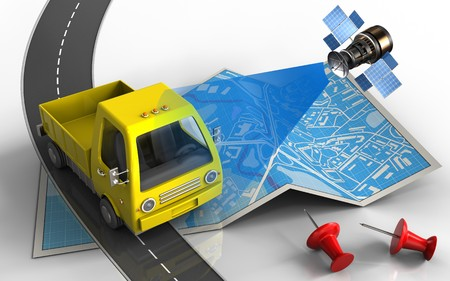 3d illustration of city map with yellow truck and red pins