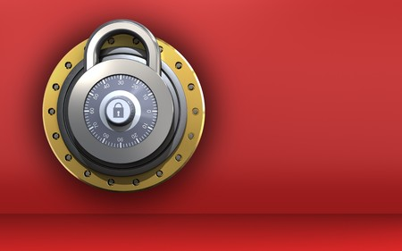 3d illustration of lock  over red background