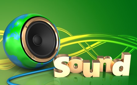 3d illustration of earth globe speaker over green background with sound sign