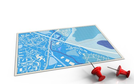 3d illustration of blue map with red pins and Stock Photo