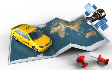 3d illustration of world map with taxi and red pins