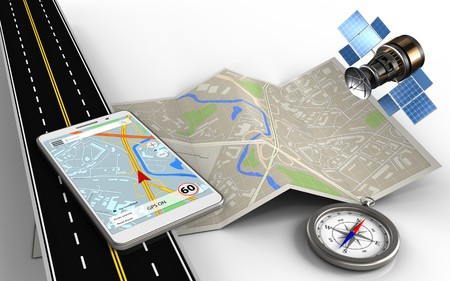3d illustration of map paper with mobile navigation and compass