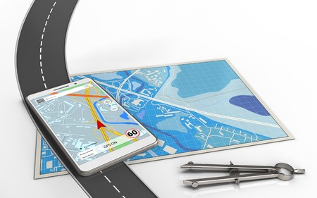 3d illustration of blue map with mobile navigation and circle tool Stock Photo