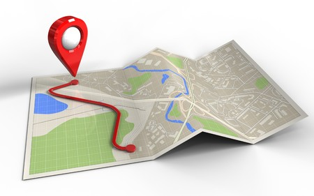 3d illustration of map paper with route and Stock Photo