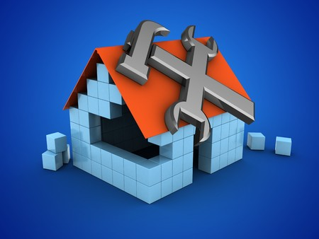 3d illustration of block house over blue background with repair symbol Stock Photo