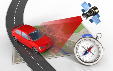 3d illustration of map with car and compass