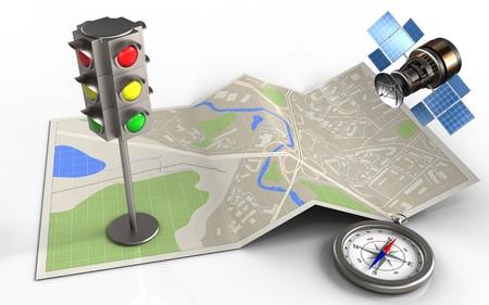 3d illustratie van kaartdocument met verkeerslicht en gps satelliet