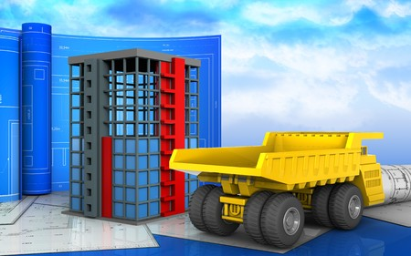 3d illustration of building construction with drawing roll over sky background