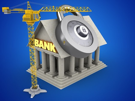 3d illustration of Bank over blue background with code lock and crane