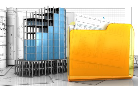 refelction: 3d illustration of modern building frame with drawings over business graph background Stock Photo