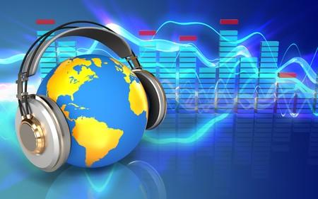 illustration 3d du monde dans les écouteurs sur les ondes sonores fond bleu