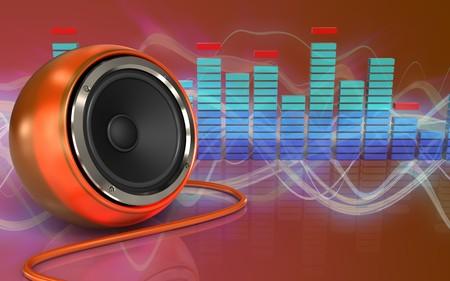 3d illustration of orange speaker over red sound wave background