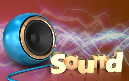 3d illustration of blue sound speaker over red sound wave background with sound sign