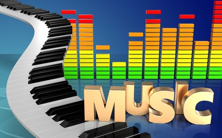 music 3d: 3d illustration of piano keys over blue gradient background with music sign Stock Photo