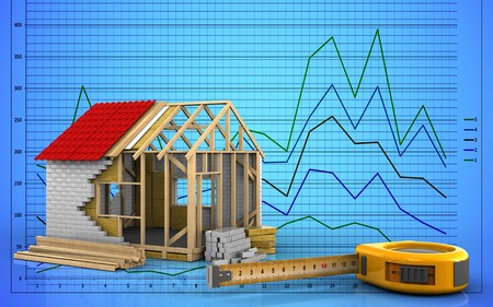 3d illustration of frame house over graph background