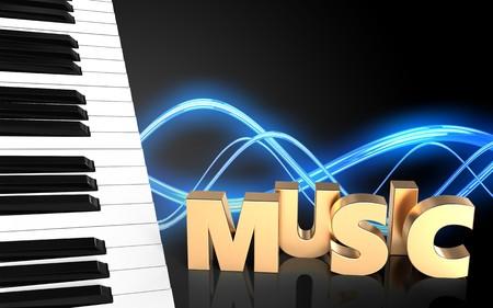 Illustration 3d von Klavierschlüsseln über Schallwellenschwarzhintergrund mit Musikzeichen Standard-Bild - 84368314