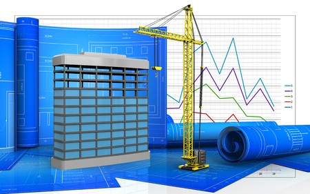 3d illustration of building construction with drawing roll over business graph background