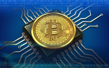 3d illustration of bitcoin over blue background with computer chip Фото со стока