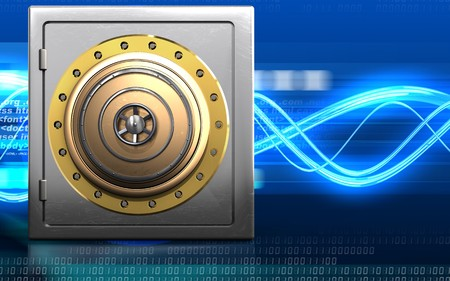 3d illustration of metal safe with golden vault door over digital waves background Stock Photo